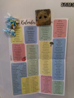 Ein Saisonkalender an der Kühlschranktür